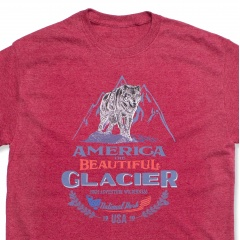 America The Beautiful<sup>®</sup> Glacier National Park Fearless Wolf Vintage Camp-style Unisex Graphic T-Shirt