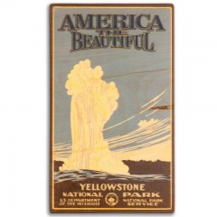 america the beautiful old faithful erupting at yellowstone national park real wood wall décor sign plaque